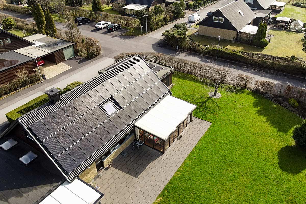Solceller på villa i kävlinge